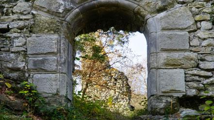 Steinmauer mit Tor und Ruine Grimmenstein hinter dem Tor