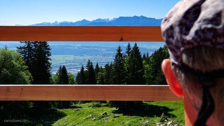 Aussicht auf das Rheintal und die Berge durch einen Bretterzaun