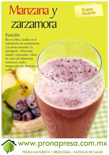 Jugo Natural de Manzana y Zarzamora: Suave Laxante