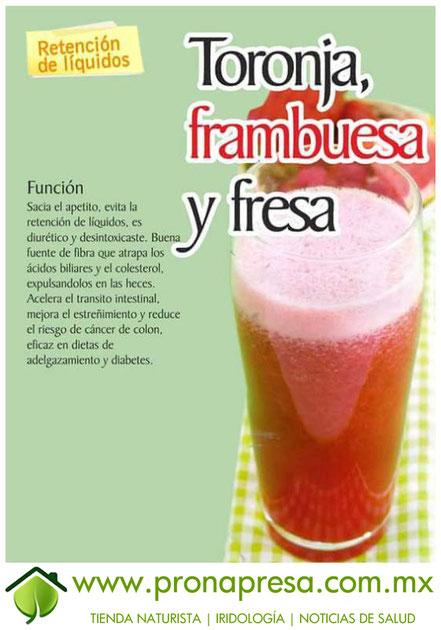 Jugo Natural de Toronja, Frambuesa y Fresa: Evita la retención de líquidos