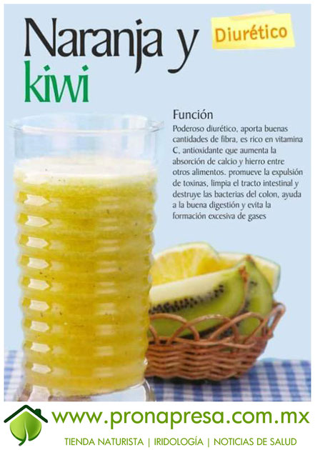 Jugo Natural de Naranja y Kiwi: Diurético