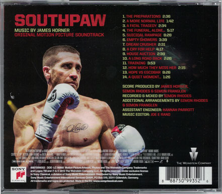 Southpaw Soundtrack - James Horner - Sony Classical - kulturmaterial - Cover Back
