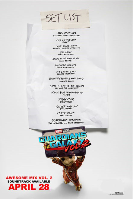 Guardians Of The Galaxy 2 Soundtrack Track List - Marvel - kulturmaterial