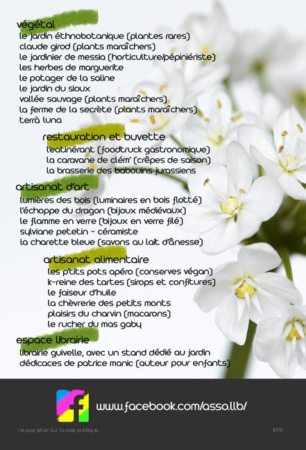 foire aux plantes et aux plants - marché de printemps - producteurs - puits salé - lons le saunier - jura - association llb