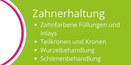 Moderne Zahnerhaltung mit zahnfarbenen Füllungen, Inlays, Kronen, Wurzelbehandlung, Aufbisschiene in der Zahnarztpraxis Lammers, Neu-Isenburg