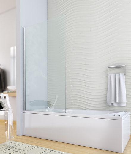 Mampara de bañera abatible (cristal transparente) en MAMPATEC (Murcia)