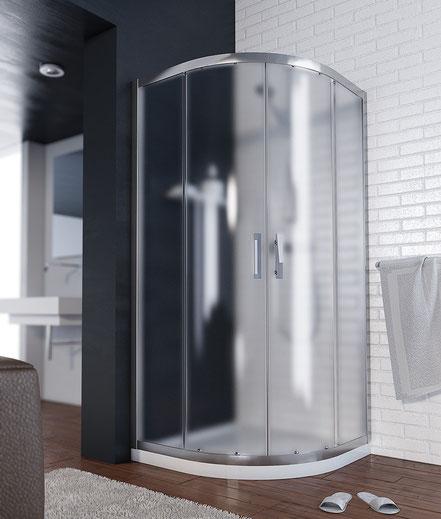 Mampara de ducha semicircular (cristal translúcido) en MAMPATEC (Murcia)