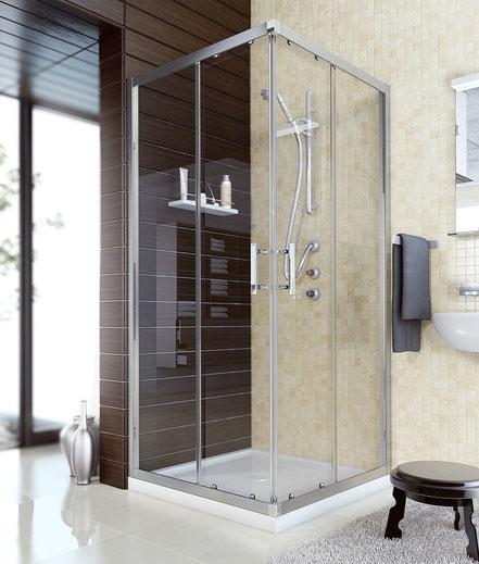 Mampara de ducha cuadrada (cristal transparente) en MAMPATEC (Murcia)
