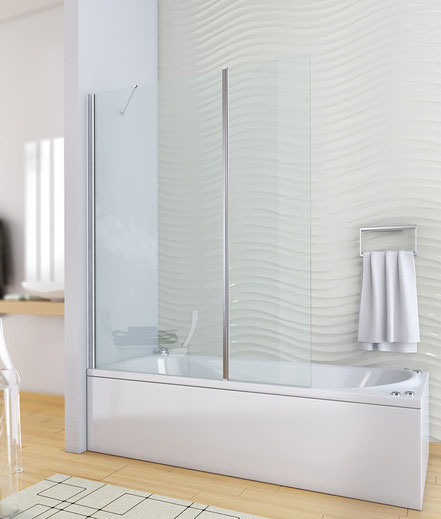 Mampara de bañera fijo+abatible (cristal transparente) en MAMPATEC (Murcia)