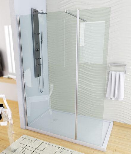 Mampara de ducha fijo + abatible (cristal transparente) en MAMPATEC (Murcia)