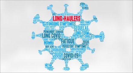 Abbildung Long-Haulers in Form eines Virus