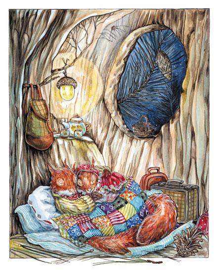 Übernachtung in der hohlen Kiefer Illustration aus Villa Eichblatt