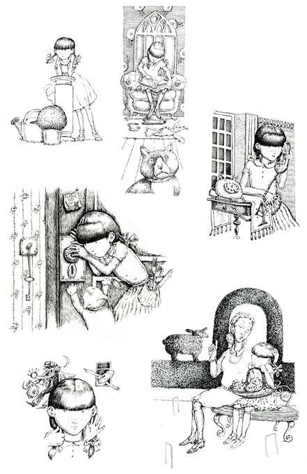 Penny kleines Mädchen England Vignetten Federzeichnung © Caroline Ronnefeldt
