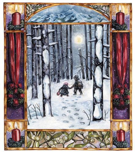 """Illustration zu """"Bergkristall"""" Adalbert Stifter, ars edition """"Hausbuch zur Weihnachtszeit"""" Caroline Ronnefeldt"""