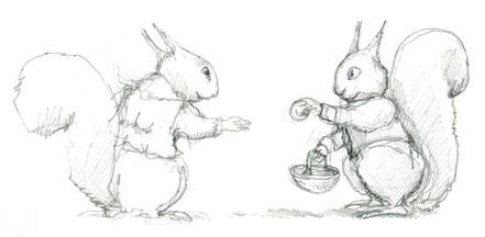 Bleistiftzeichnung Eichhörnchen © Caroline Ronnefeldt