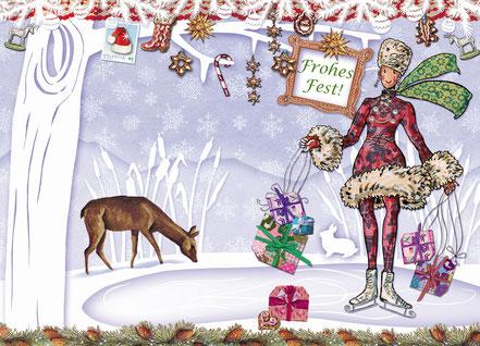 Weihnachtskarte Little Lady Schlittschuh Caroline Ronnefeldt  © Edition Tausendschön