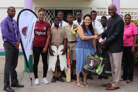 Inaugural Cricket Kindness BARBADOS mission 2017 with Principal Dennis Browne receiving equipment for St Georges Secondary presented by Cricket Kindness founder, Tamara Lowe and Cricket Kindness Ambassador, WI cricketer, Hayley Mathews.