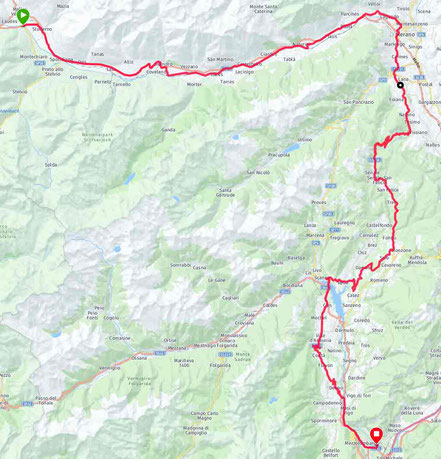 2. Etappe: Glurns, Meran, Gampenpass, Lago di Santo Giustina, Terres, Mezzocorona 144km/2020hm