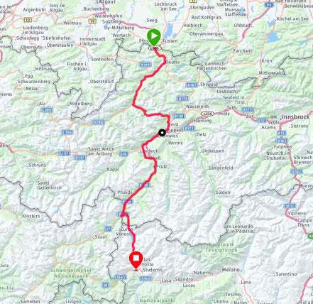 1. Etappe: Füssen, Hahntennjoch, Landeck, Norbertshöhe, Reschensee, Glurns. 159km/2430hm