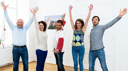 Die Sprachtrainer der Sprachschule Alegría: Alejandro, Franco, Eva und Isaque