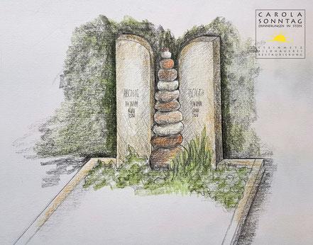 Zeichnung eines Grabsteins mit Flusskieseln