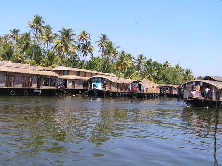 Circuit en Inde du sud... ou la découverte d'une autre Inde : faune, flore, paysage, architecture, culture vous séduiront. Ici, les houseboats d'Allepey dans le Kerala avec lesquels vous circulerez dans les Backwaters.