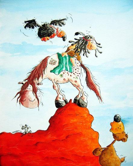 Wilder Westen Cartoon, Mausefalle, Indianer, Indianerpferd, Mäuslein, Bär