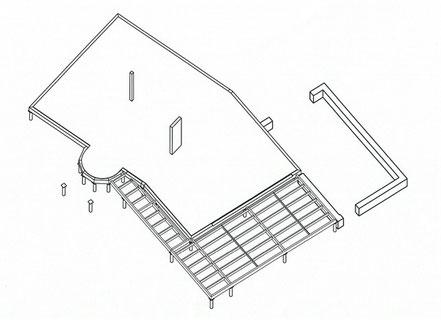 toiture terrasse; RDC; plancher isolant; bardage bois