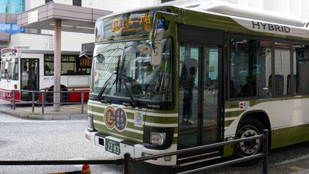 (このように、ロゴマークがバスに貼ってあります。(他に、赤いバスも走っています))