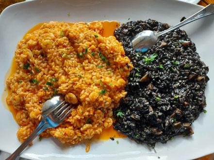 MAG Lifestyle Magazin Urlaub Reisen Kroatien Dalmatien Makarska Riviera Brela Restaurant Konoba Galinac Risotto Shrimps Tintenfisch crni zizoto schwarzes