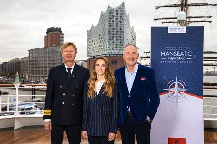 MAG Lifestyle Magazin: Kreuzfahrten: Hapag-Lloyd Cruises tauft Hanseatic inspiration, das zweite von drei neuen Expeditionsschiffen, Schiffstaufe im Hafen von Hamburg