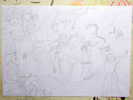 Le crayonné fin. Les personnages et le décor apparaissent. Image d'accueil de COBEditions, des BD pédagogiques pour enfants, les aventures de Julie et Beau Prince, par Emmanuelle OLGUIN