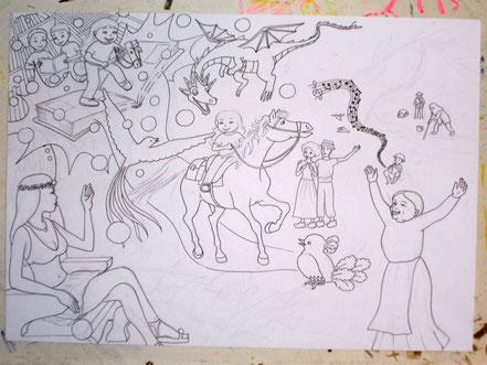 L'encrage. Les personnages et le décor sont plus visibles. Image d'accueil de COBEditions, des BD pédagogiques pour enfants, les aventures de Julie et Beau Prince, par Emmanuelle OLGUIN