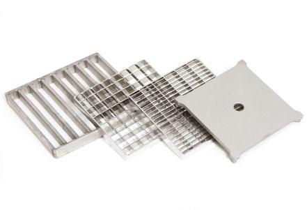 STEMAR Edelstahl-Abdeckungen für Bodenabläufe, Stabrost, Gitterrost mit Rutschhemmung, Gitterrost für Barfußbereich, Abdeckplatte