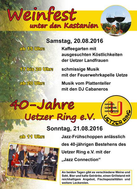 """Uetze: Weinfest 2016 mit Jubiläumsfeier """"40 Jahre Uetzer Ring"""""""