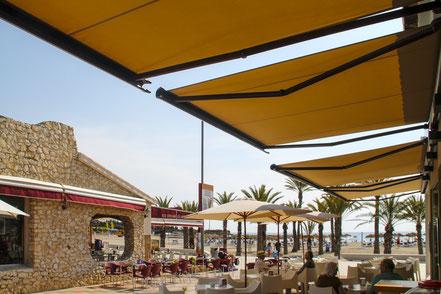 markilux Kassettenmarkise 990 Mallorca beige einfarbig vier Markisen FINK