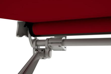 markilux 1600 stretch detailfoto gelenkarmmarkise gelenkarmklemme und wandhalter tuch rot gestell steingrau metallic fink markisen eschau