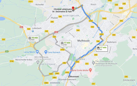 Trajet  et plan pour aller de Brunstatt à Bourtzwiller en voiture