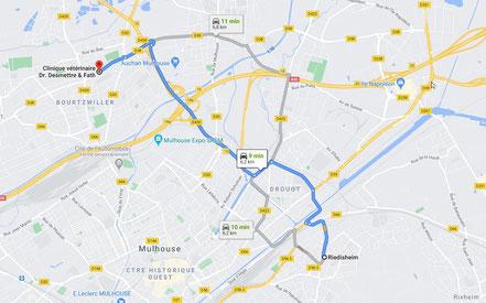 Trajet  et plan pour aller de Riedisheim à Bourtzwiller en voiture