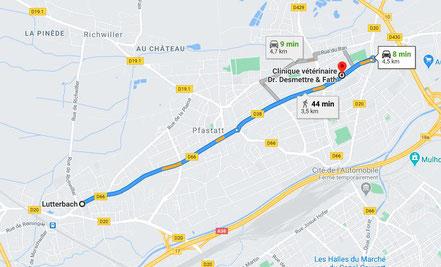 Trajet  et plan pour aller de Lutterbach à Bourtzwiller en voiture