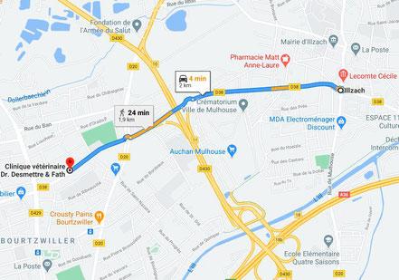 Trajet  et plan pour aller d'Illzach à Bourtzwiller en voiture