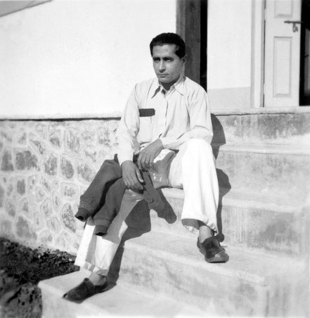1937 Nasik, India : Adi sitting outside the Westerners' quarters. Photo taken by Padri Irani