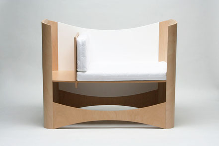 Beistellbett, Anstellbett, Stillbett aus Holz