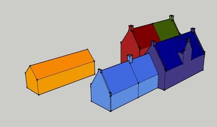 Het huidige complex (boven) en de veronderstelde situatie rond 1710, met het 17de-eeuwse 'hoge huijs' (rood en groen), het vroeg 18de-eeuwse 'lage huijs' (donkerblauw) de stal annex keuken (lichtblauw) en de later overbouwde 'oude stal' (geel).