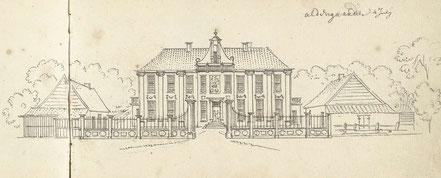 Oldengaerde op een tekening van Cornelis Pronk uit 1732. De gevel is hier nog in het bezit van een halsgevel.