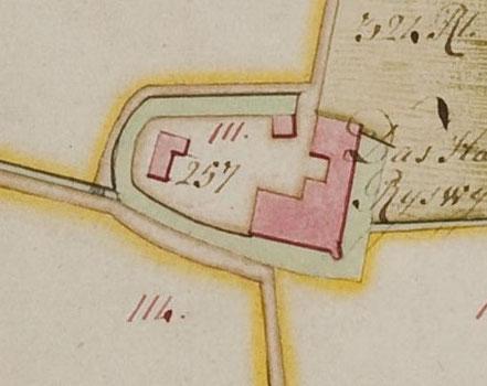 De uitzonderlijke langgerekte vorm van het kasteeleiland is goed te zien op dit laat 18de-eeuwse kaartfragment.