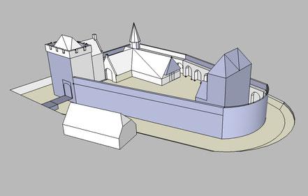 Op basis van de bestaande en verdwenen bouwvolumes en de vorm van het kasteelterrein zou Rijswijk er rond 1400 ongeveer zo uit kunnen hebben gezien.
