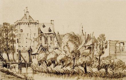 Op deze prent van Jan de Beijer uit 1742 zijn de toren en vleugel nog niet verlaagd. De gracht en de ruïne rechts zijn sinds lang verdwenen en datzelfde geldt voor het gebouwtje naast de brug, dat een restant van de weermuur lijkt te bevatten.