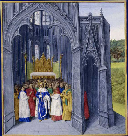 Chlodwig II. im Kloster St. Denis. Buchmalerei aus dem 15. Jahrhundert. Grandes Chroniques de France