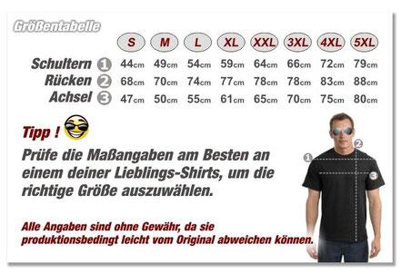Motorrad Biker T-Shirt Größentabelle